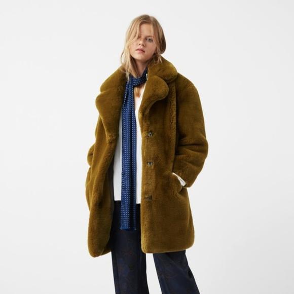78e0174b76 RESERVED Mango Mustard Oversized Faux Fur Coat